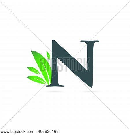 Initial Letter N Leaf Logo, Alphabet N Vector Illustration