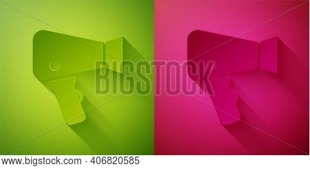 Paper Cut Hair Dryer Icon Isolated On Green And Pink Background. Hairdryer Sign. Hair Drying Symbol.