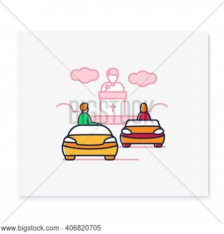 Church Service Color Icon. People Listen To Priest Drive-in Concept. Car Near Small Church. Chapel S
