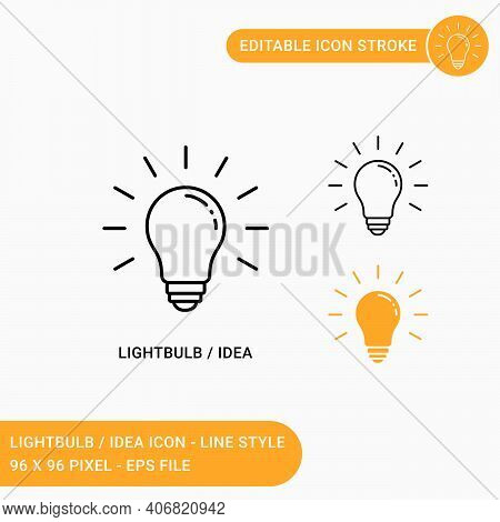Light Bulb Icons Set Vector Illustration With Icon Line Style. Idea Icon Concept. Editable Stroke Ic