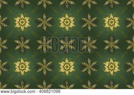 Cute Floral Pattern With Buds Flowers. Seamless Background. Vintage Retro Style. Raster. Raster Illu