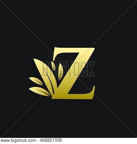 Golden Initial Letter Z Leaf Logo, Alphabet Z Vector Illustration