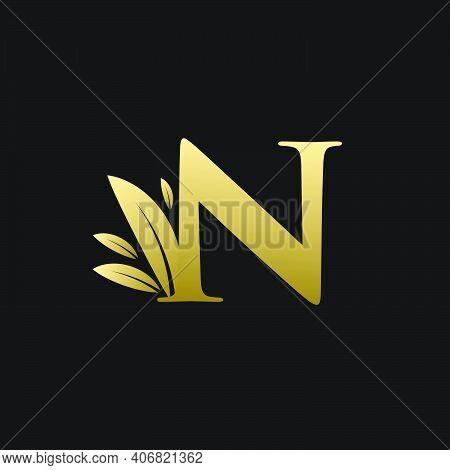 Golden Initial Letter N Leaf Logo, Alphabet N Vector Illustration