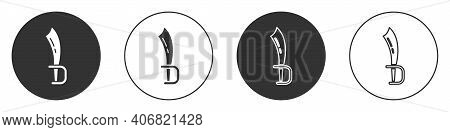 Black Pirate Sword Icon Isolated On White Background. Sabre Sign. Circle Button. Vector