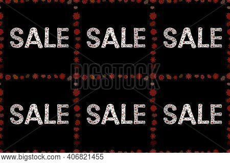 Sale, Give Away Banner, Retail Raster Tag. Marketing Campaign Sale. Seamless Pattern. Red, White And
