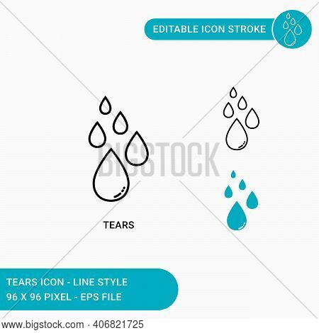 Tears Icons Set Vector Illustration With Icon Line Style. Eye Tear Icon Concept. Editable Stroke Ico