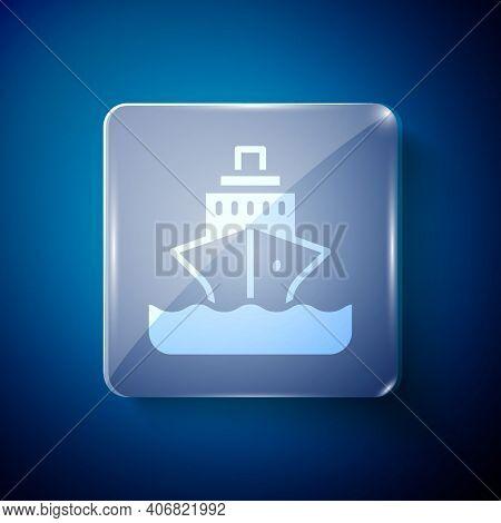 White Cruise Ship Icon Isolated On Blue Background. Travel Tourism Nautical Transport. Voyage Passen