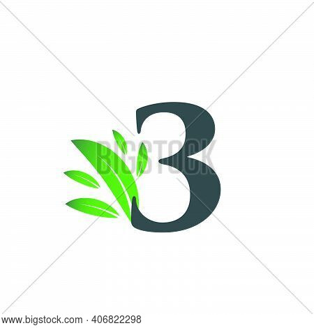 Number Three Logo With Green Leaves. Natural Number 3 Logo With Green Leaf.