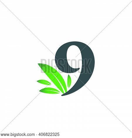 Number Nine Logo With Green Leaves. Natural Number 9 Logo With Green Leaf.