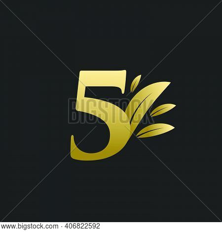 Golden Number Five Logo With Gold Leaves. Natural Number 5 Logo With Gold Leaf.