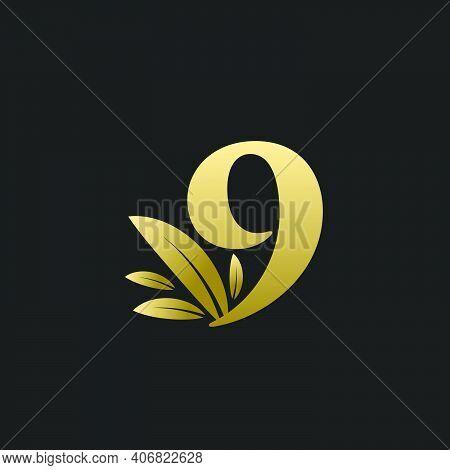 Golden Number Nine Logo With Gold Leaves. Natural Number 9 Logo With Gold Leaf.
