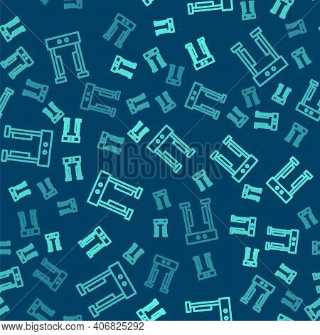 Green Line Metal Detector Icon Isolated Seamless Pattern On Blue Background. Airport Security Guard