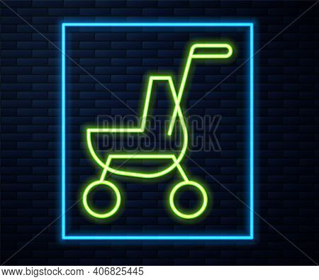 Glowing Neon Line Baby Stroller Icon Isolated On Brick Wall Background. Baby Carriage, Buggy, Pram,