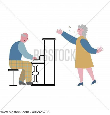 Elderly Musicians Enjoy Singing Together In Club. Senior Man Piano Plays. Lady Sings. Concept Vector