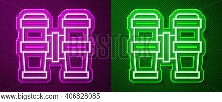 Glowing Neon Line Binoculars Icon Isolated On Purple And Green Background. Find Software Sign. Spy E