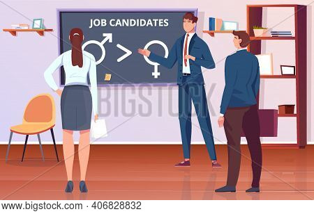 Gender Discrimination Flat Background With Male And Female Job Candidates In Office Vector Illustrat