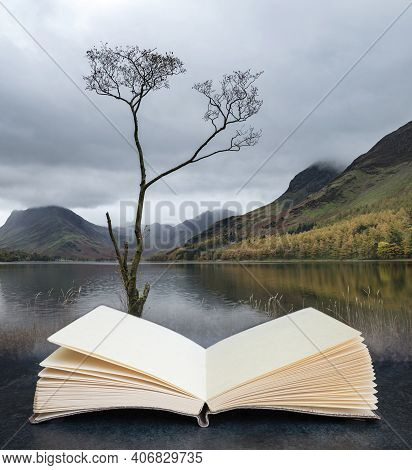 Digital Composite Image Of Beautiful Autumn Fall Landscape Image Of Lake Buttermere In Lake District