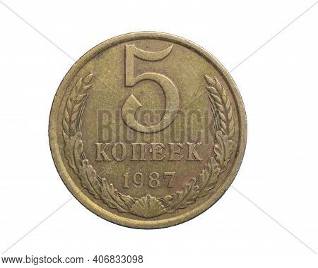 Five Cccp Kopeck Gold Coin On A White Isolated Background
