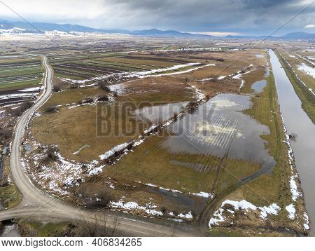 Flooded Areas Near Olt River In Romania, Hungarian Villages In The Background, Aerial View.
