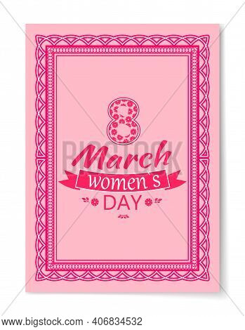 8 March Womens Day Best Wishes Postcard With Big Sign And Swirly Frame. 8 March Card In Bright Pink