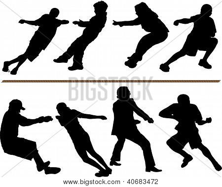 Tug of war or rope pulling vector silhouettes. Editable