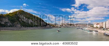 Gellert Hill and Danuber River in Budapest, Hungary.