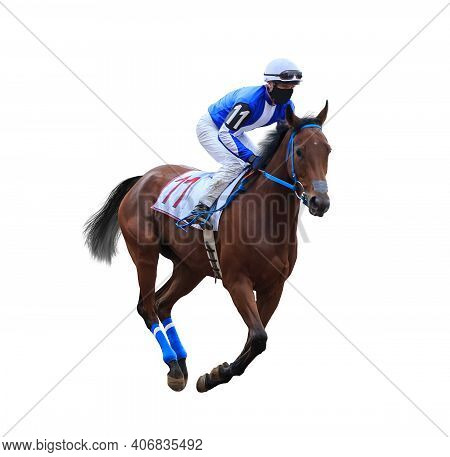Horse Racing Jockey Isolated On White Background