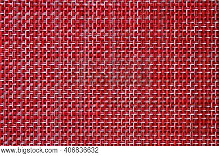 Red Weave Seamless Texture Of Bamboo Wicker Rattan Basket Pattern Background. Rough Wooden Wicker Te