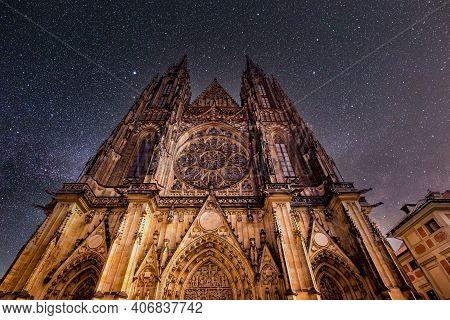 Prague, Czech Republic, September 11 : Exteriors Of Saint Vitus Cathedral, Prague Castle, Czech Repu