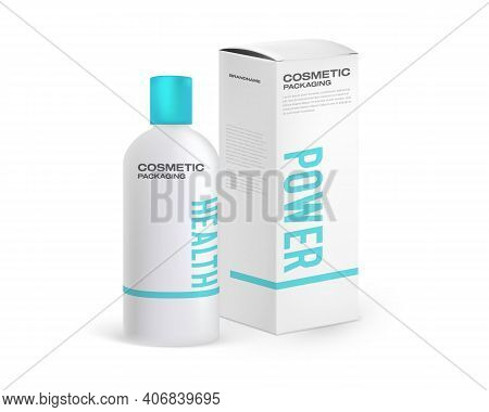 Cosmetic Bottle And Cardboard Packaging Mockup With Sample Design. Design Template For Cosmetic Pack