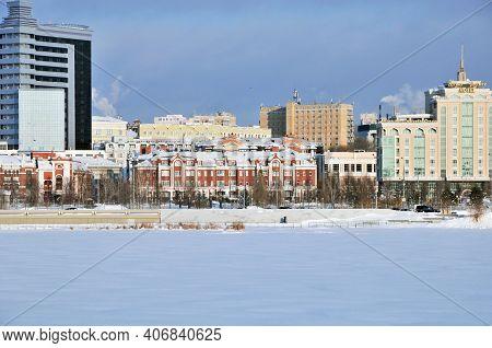 Kazan, Russia - January 17, 2021. Winter City Landscape View Of The Frozen Lake Lower Kaban.