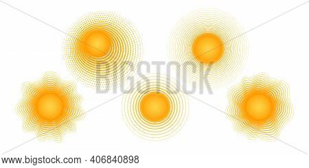 Solar Radial Pattern Orange Abstract Banner From Lines Sun Shape Design Element With A Lines Pattern