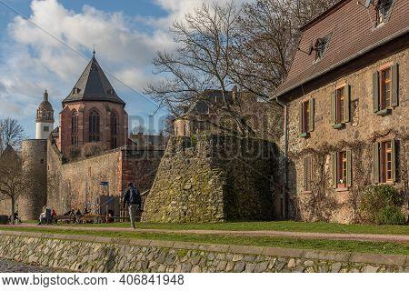 Historical Buildings On The River Main Frankfurt-hoechst