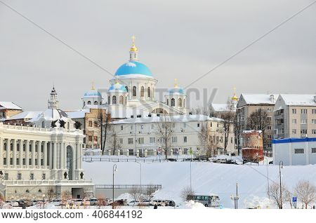 Kazan, Russia - February 2, 2021. View Of The Cathedral Of The Kazan Icon Of The Mother Of God. Kaza