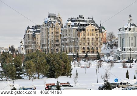 Kazan, Russia - February 2, 2021. Modern Expensive Residential Complex