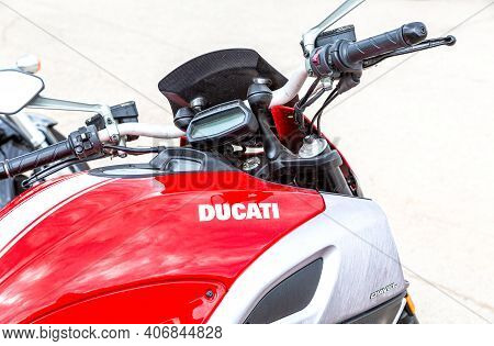 Samara, Russia - May 18, 2019: Emblem Of Dukati On A Sport Red Motorcycle. Ducati Brand Name Is On A