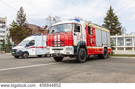 Samara, Russia - May 1, 2018: Ambulance Car And Fire Truck Parked Up At The Street
