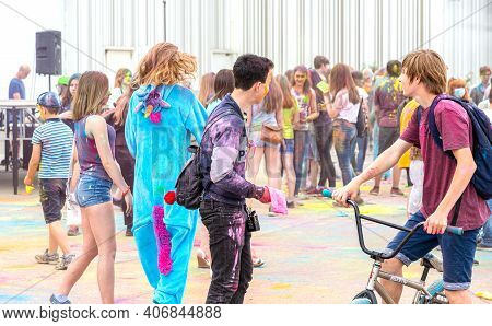 Samara, Russia - May 19, 2018: Young People During Festival Of Colours Holi. Holi Is Traditional Hol