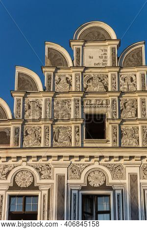 Decorated Facade Of A Historic House In Telc, Czech Republic