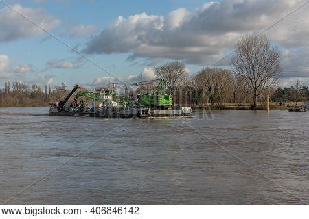 The Multi-purpose Vessel Muraene On The River Main Near Frankfurt Hoechst, Germany
