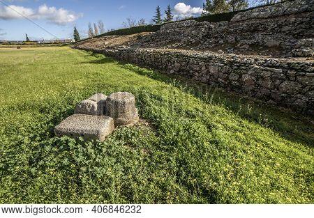 Podium Of Imperial City Circus Of Emerita Augusta, Merida, Spain. One Of The Largest Of Roman Empire