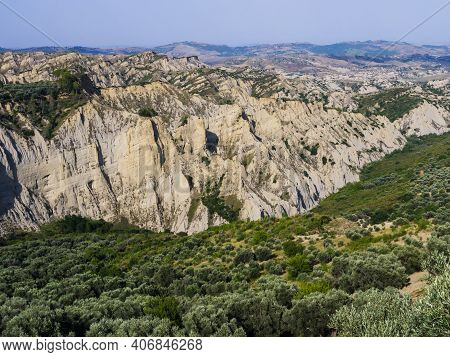 Scenic View Of Aliano Badlands (calanchi), Lunar Landscape Made Of Clay Sculptures Eroded By The Rai
