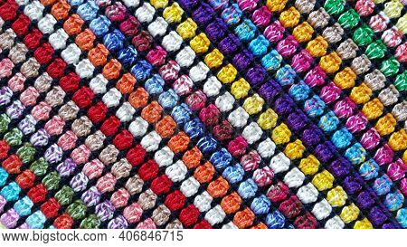 Photo With Detail Of The Texture Of Colorful Crocheted Cloth.