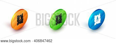 Isometric Wanted Western Poster Icon Isolated On White Background. Reward Money. Dead Or Alive Crime