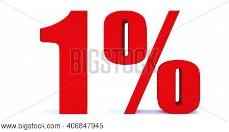 1 Percent Off 3d Sign On White Background, Special Offer 1% Discount Tag, Sale Up To 1 Percent Off,b
