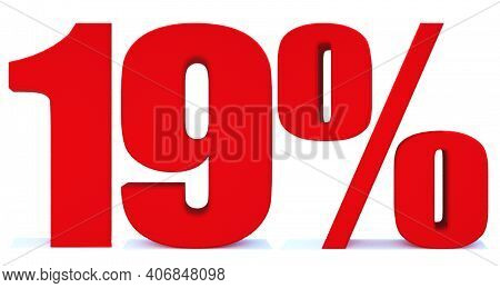 19 Percent Off 3d Sign On White Background, Special Offer 19% Discount Tag, Sale Up To 19 Percent Of