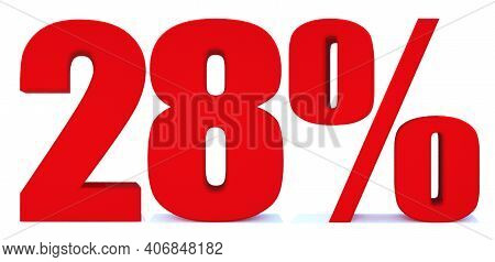 28 Percent Off 3d Sign On White Background, Special Offer 28% Discount Tag, Sale Up To 28 Percent Of