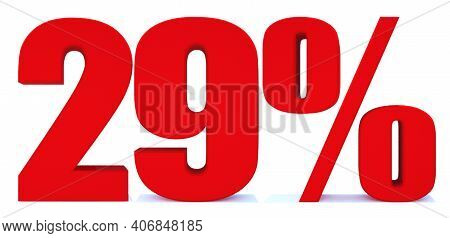 29 Percent Off 3d Sign On White Background, Special Offer 29% Discount Tag, Sale Up To 29 Percent Of