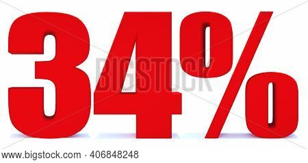 34 Percent Off 3d Sign On White Background, Special Offer 34% Discount Tag, Sale Up To 34 Percent Of