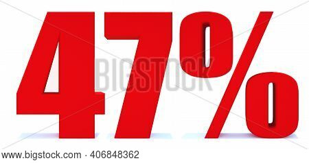 47 Percent Off 3d Sign On White Background, Special Offer 47% Discount Tag, Sale Up To 47 Percent Of